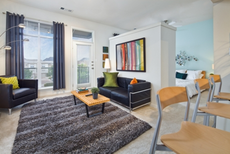 Austin Ranch Apartment Living Room - The Colony Apartments
